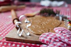 Тесто крупного плана сырцовое для печений пряника для Стоковая Фотография
