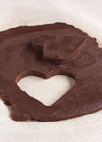 Тесто печенья сердца форменное сырцовое Стоковое Фото