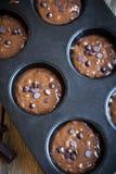Тесто пирожных или булочек шоколада сырцовое Стоковая Фотография