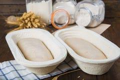 Тесто хлеба в корзине заквашивания Стоковые Изображения RF