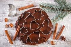 Тесто для печений, специи и ингридиента рождества для печь пряника Стоковое Фото