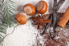 Тесто для печений, специи и ингридиента рождества для печь пряника Стоковые Фото
