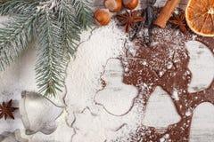 Тесто для печений, специи и ингридиента рождества для печь пряника Стоковая Фотография RF