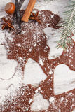 Тесто для печений, специи и ингридиента рождества для печь пряника Стоковое фото RF