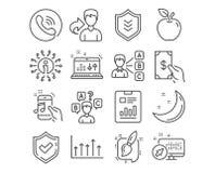 Тест викторины, телефон музыки и щетка картины значки Мнение, экран и ядровые знаки проверки вектор бесплатная иллюстрация