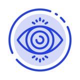 Тест глаза, поиск, линия значок голубой пунктирной линии науки иллюстрация вектора