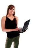 тетрадь девушки 2 компьютеров Стоковое Изображение RF