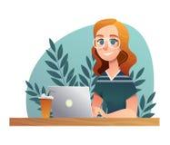 Тетрадь исследования девушки счастливая Характер вектора школы и университета эскиза на белом фоне Дизайн персонажа из мультфильм иллюстрация штока