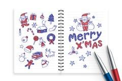 Тетрадь и ручки с комплектом чертежа руки мальчика ребенк, веселым x& x27; mas, иллюстрация идеи концепции значка символа рождест Стоковые Фото