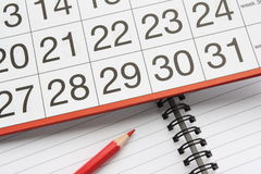 тетрадь календара Стоковые Изображения