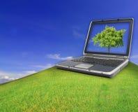 Тетрадь на зеленом поле травы весны Стоковое фото RF