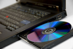 тетрадь черного компьютера самомоднейшая Стоковое Изображение