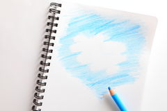 Тетрадь и голубой карандаш Стоковое Изображение RF