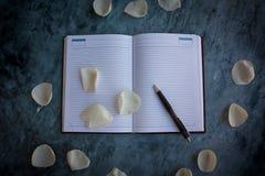 Тетрадь и ручка стоковое фото