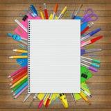 Тетрадь и школьные принадлежности Стоковые Изображения RF