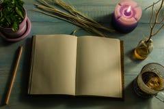 Тетрадь, карандаш, надушенный свечи, эфирные масла, ветви дерева, малые деревья в баках, кофейных чашках На деревянной таблице Стоковые Изображения