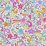 Тетрадь картины звезд безшовная Doodles вектор Стоковые Фото