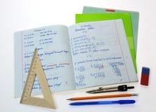 Тетрадь математики школы стоковые изображения rf