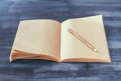 Тетрадь с прописями с крупным планом карандаша Стоковое Изображение