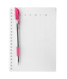 Тетрадь с розовой ручкой Стоковые Изображения