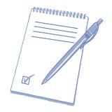 Тетрадь с ручкой бесплатная иллюстрация