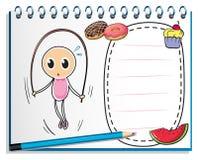 Тетрадь с чертежом девушки играя с скача rop бесплатная иллюстрация