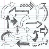 тетрадь doodles стрелок схематичная Стоковые Фото