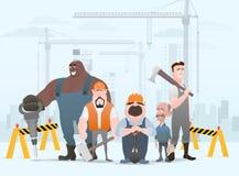 Техник и построители и инженеры и механики и сыгранность рабочий-строителя, персонаж из мультфильма иллюстрации иллюстрация вектора