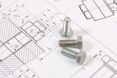 Технические чертежи болтов Инженерство, технология и механическая обработка Стоковые Изображения RF