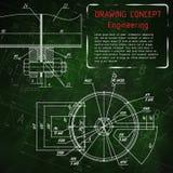 Технические чертежи машиностроения на зеленом классн классном Стоковое Изображение