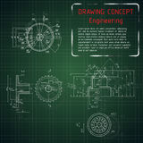 Технические чертежи машиностроения на зеленом классн классном Стоковые Фотографии RF