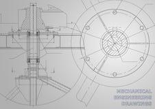 Технические чертежи машиностроения иллюстрация вектора