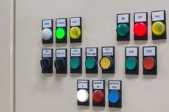Технический дисплей на пульте управления с dev электротехнического оборудования Стоковое Фото