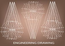 Технический чертеж, инженерство Стоковая Фотография