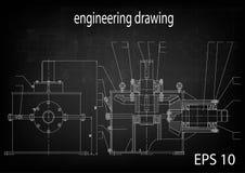 Технический чертеж, инженерство иллюстрация штока