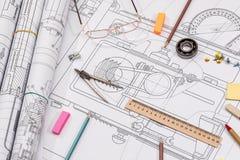 Технический чертеж проекта с инструментами инженерства Стоковое фото RF
