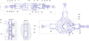 Технический чертеж промышленного оборудования Стоковое фото RF