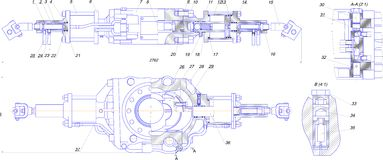 Технический чертеж промышленного оборудования Стоковые Фотографии RF