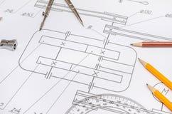Технический чертеж с инструментами Стоковая Фотография