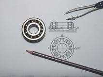 Технический чертеж с подшипником Стоковое фото RF