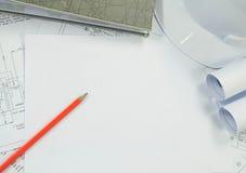 Технический чертеж с свободным белым космосом для текста стоковое фото rf