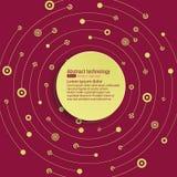 Технологическая предпосылка вектора с круглым знаменем для текста Пересечение кругов, точек и линий Хаотическое движение иллюстрация штока