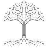 Технологическое дерево в форме платы с печатным монтажом Черно-белая древесина в форме соединений технологического bo иллюстрация вектора