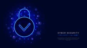 Технология безопасности кибер и безопасная концепция предохранения от конфиденциальности данных облака со значком и проверкой pad иллюстрация вектора