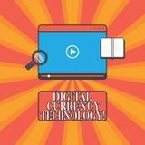 Технология валюты цифров текста почерка Концепция знача валюту доступную в планшете цифровой или электронной формы иллюстрация вектора