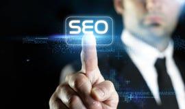 Технология в он-лайн маркетинге, принципиальной схеме SEO Стоковое фото RF