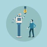 Технология домоустройства механизма искусственного интеллекта электрической лампочки современного робота изменяя футуристическая иллюстрация штока