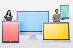 Технология и всход концепции интернета стоковое фото