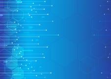 Технология конспекта современная цифровая и дизайн предпосылки нововведения голубой иллюстрация вектора