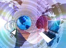 технология принципиальной схемы компьютера гловальная иллюстрация вектора